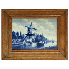 "Dutch Delft Porceleyne Fles tile Delft, Mill ""De Roos"", after L. Senf,  1906"