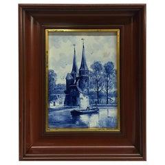 """Dutch Delft Porceleyne Fles Tile """"Oostpoort Delft"""" After L. Senf, 1896"""