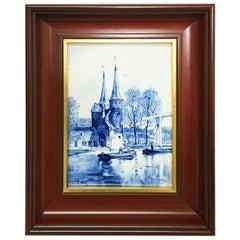 """Dutch Delft Porceleyne Fles Tile """"Oostpoort Delft"""" after L. Senf, 1900"""