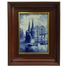 """Dutch Delft Porceleyne Fles Tile """"Oostpoort Delft"""" after L. Senf, 1925"""