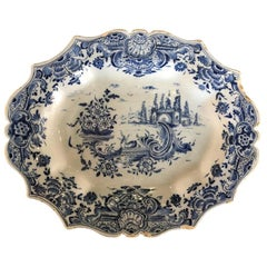 Dutch Delft Scalloped Rim Oval Tray, 18th Century