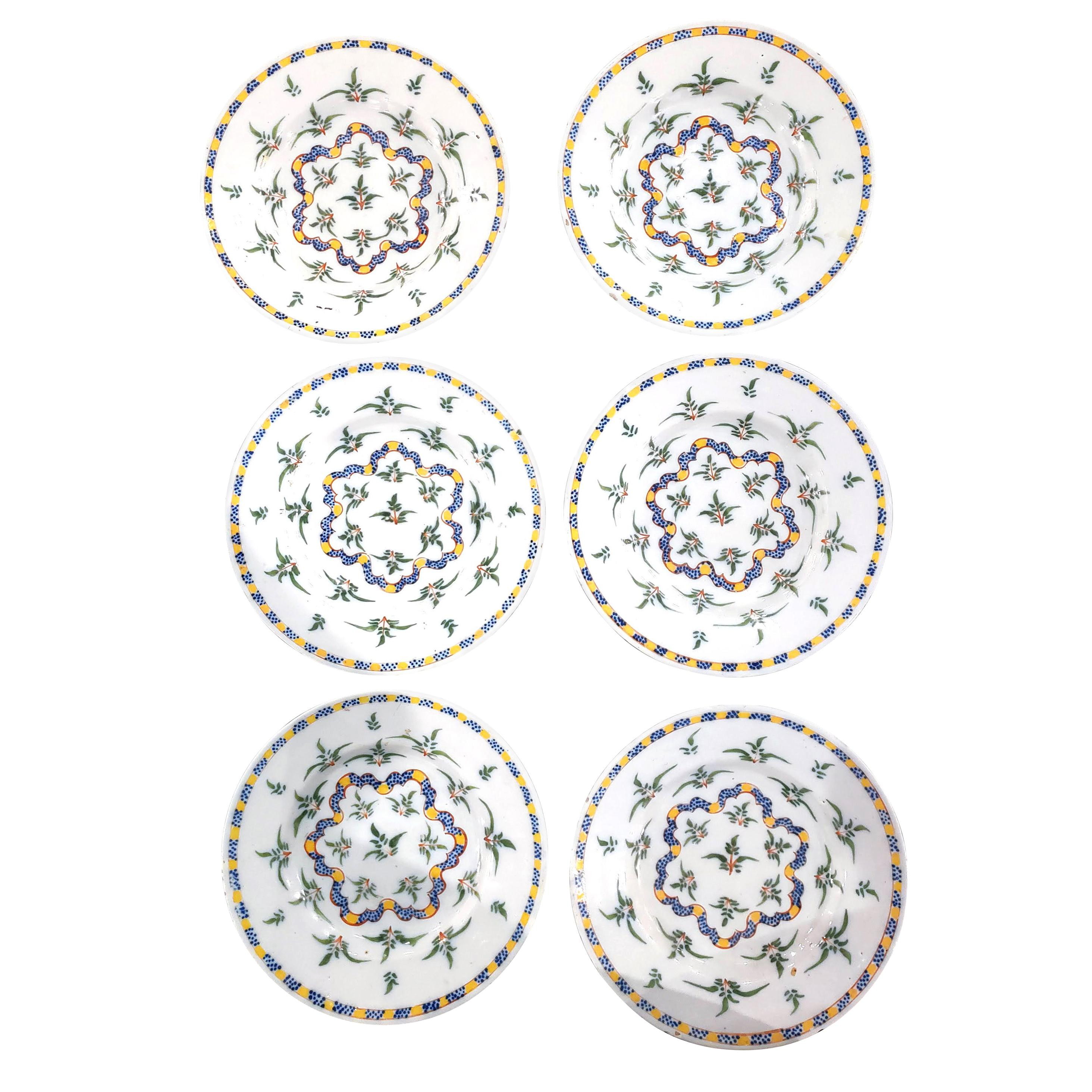 Dutch Delft Set of Six Dinner Plates with Plants and Ribbon