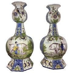 Dutch Delft Vases Equestrian Hunt Pastoral Scenes