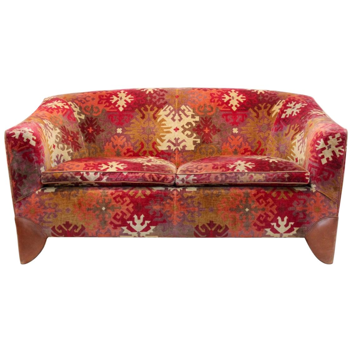 Dutch Design 2-Seat Sofa with Graphical Print, 1980s