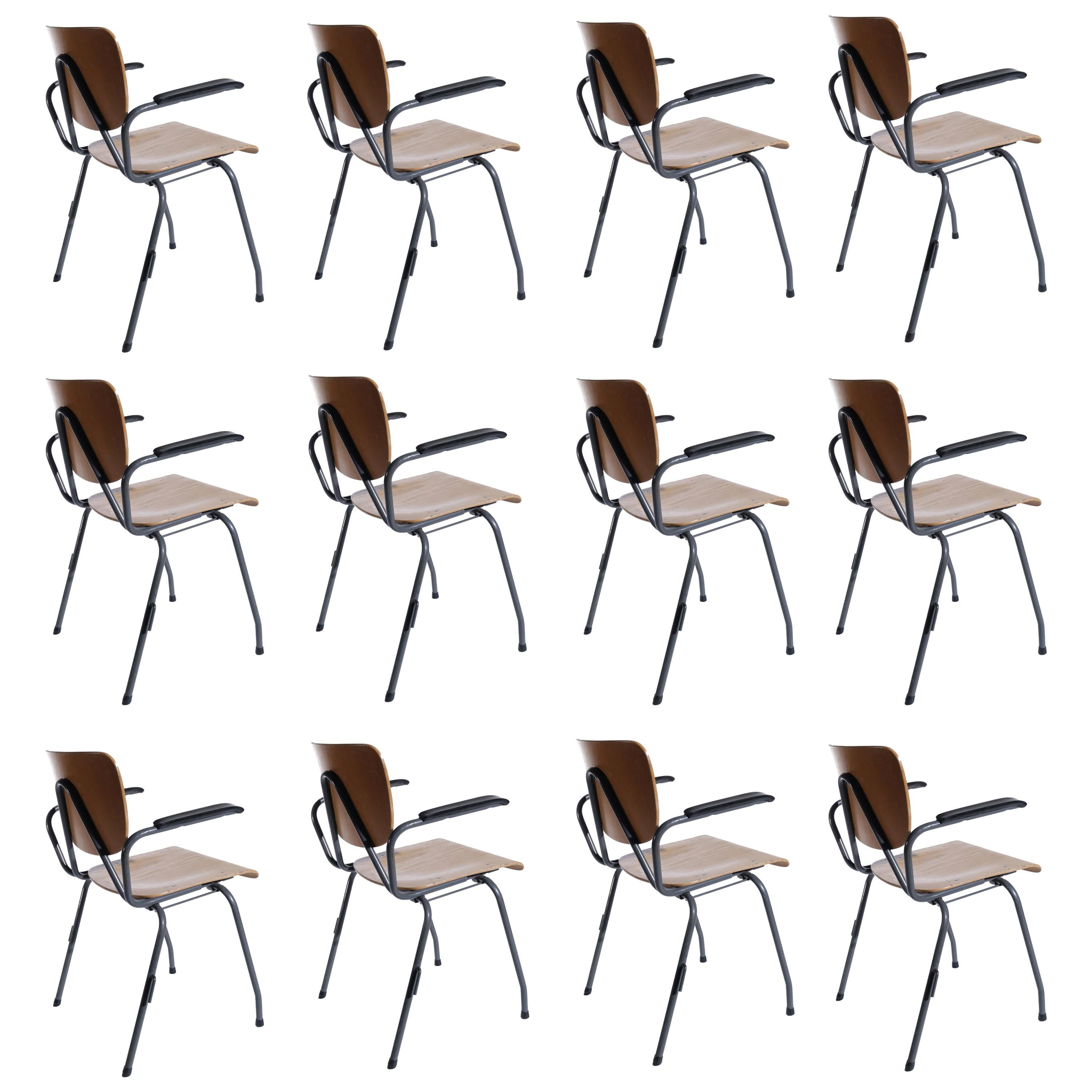 Dutch Design Kho Liang Ie for Car 1957 Stackable Chairs Model 305 with Armrest