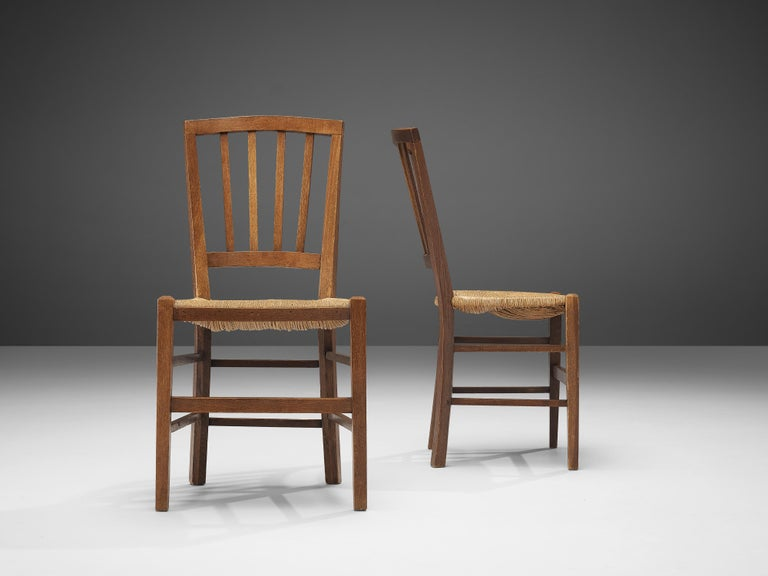 Dutch Dining Chairs in Stained Oak and Paper Cord Seating In Good Condition For Sale In Waalwijk, NL