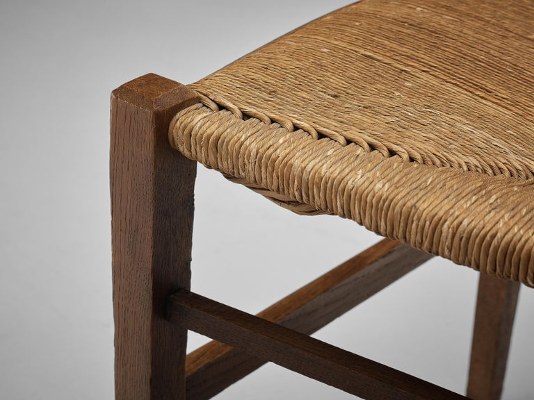 Mid-20th Century Dutch Dining Chairs in Stained Oak and Paper Cord Seating For Sale