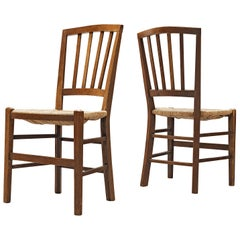 Dutch Dining Chairs in Stained Oak and Paper Cord Seating