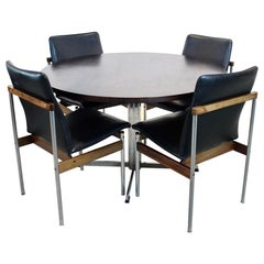 Dutch Dining Set with Pastoe Round Table and Fristho 'Thereca' Chairs