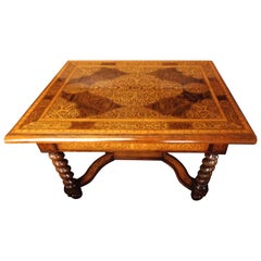 Dutch Double Sided Figured Walnut Occasional Table with Inlaid Seaweed Marquetry
