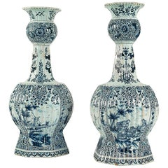 Dutch Early 19th Century, Monumental Delft Faience Pair of Gourd-Shaped Vases
