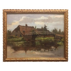 Dutch Framed Oil on Board River Scene by Frans Simon Hoos, Early 20th Century