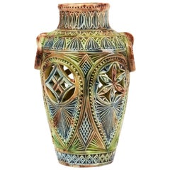 Dutch Frisian Art Pottery Twin Handled Vase, circa 1900