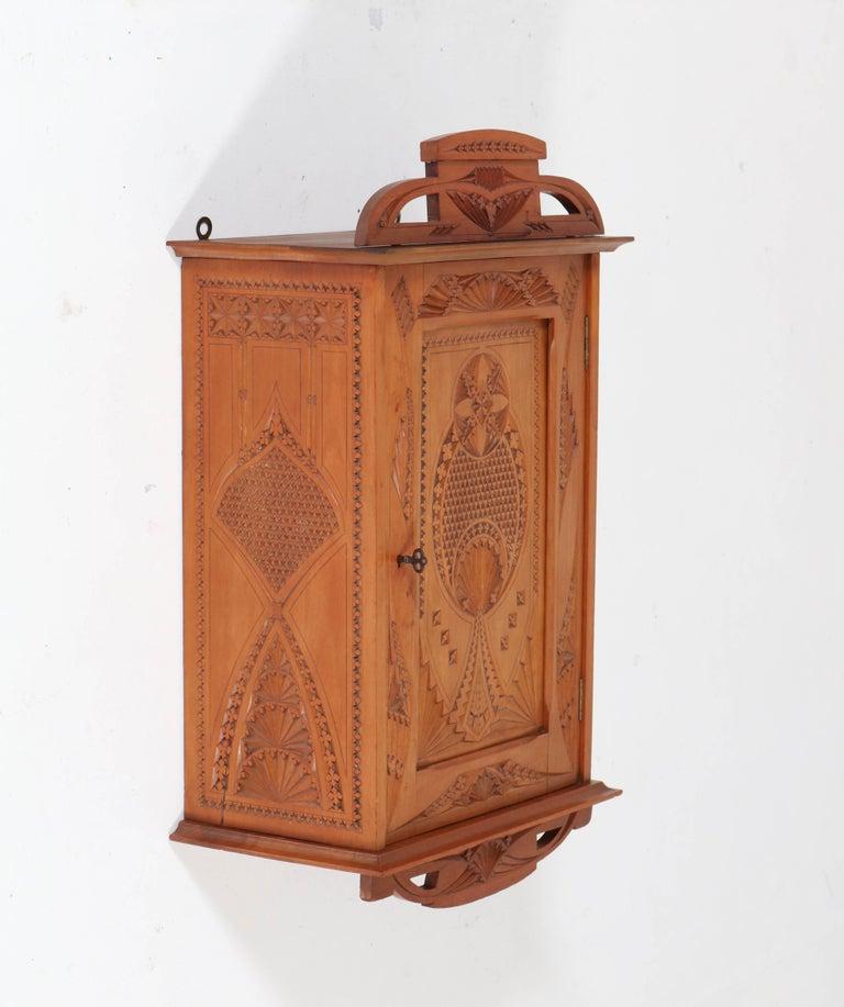 Early 20th Century Dutch Fruitwood Art Nouveau Kerfschnitt Wall Cabinet, 1900s For Sale