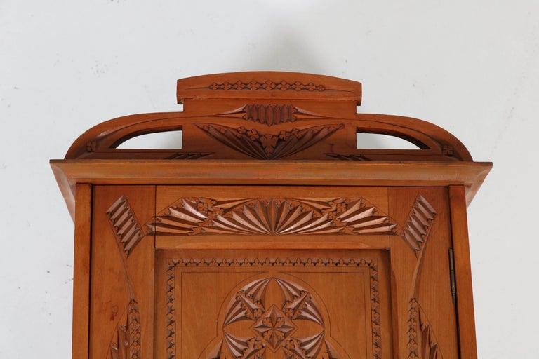 Dutch Fruitwood Art Nouveau Kerfschnitt Wall Cabinet, 1900s For Sale 1