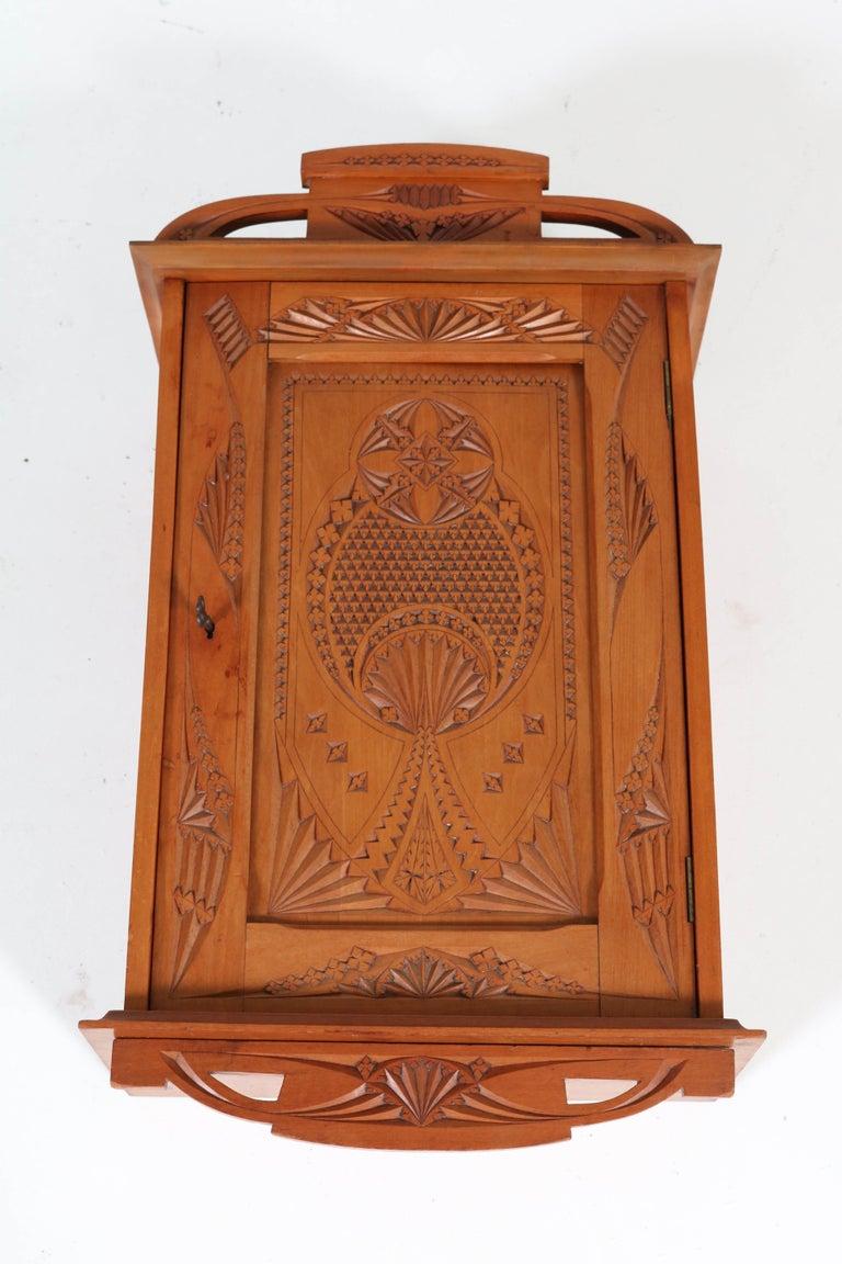 Dutch Fruitwood Art Nouveau Kerfschnitt Wall Cabinet, 1900s For Sale 2