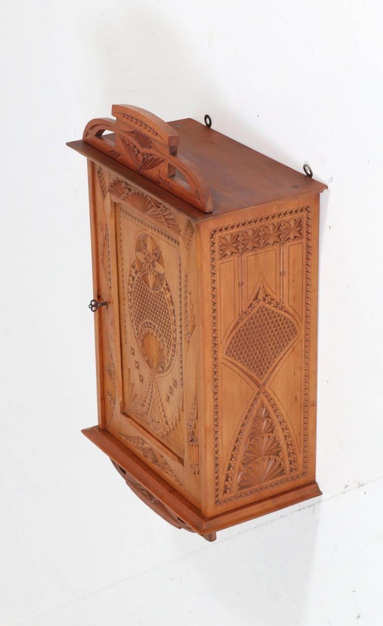 Dutch Fruitwood Art Nouveau Kerfschnitt Wall Cabinet, 1900s For Sale 4