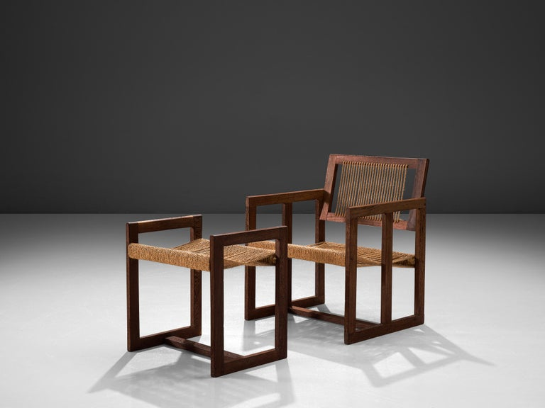 Lounge chair with ottoman, wengé, natural cord, the Netherlands, 1950s   The honesty of the two natural materials used for this set are contributing to the rare appearance of the design. Wengé wood for the constructive elements and natural cord to