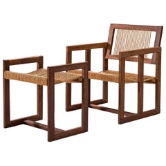 Dutch Geometric Lounge Chair with Ottoman in Wengé and Cord