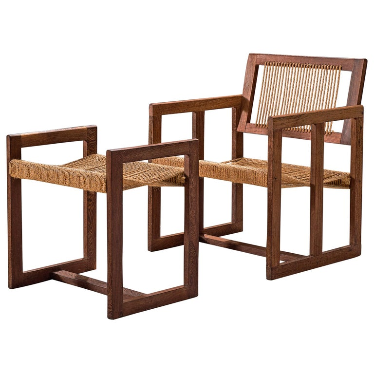 Dutch Geometric Lounge Chair with Ottoman in Wengé and Cord For Sale