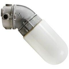 Dutch Gray 45º Vintage Industrial Opaline Milk Glass Wall Lamp Scone