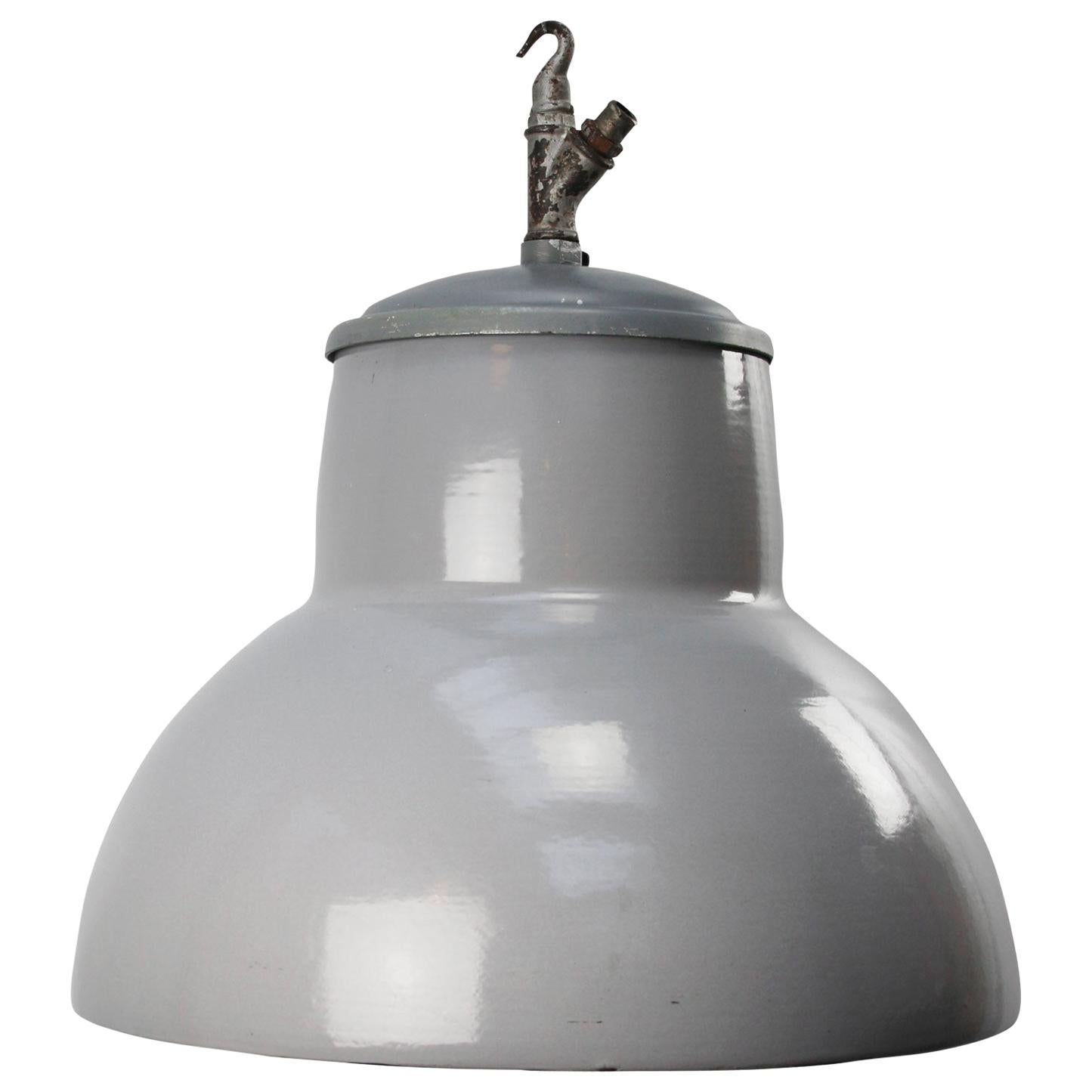 Dutch Gray Enamel Vintage Industrial Pendant Lights by Philips