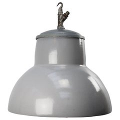 Dutch Gray Enamel Vintage Industrial Pendant Lights by Philips
