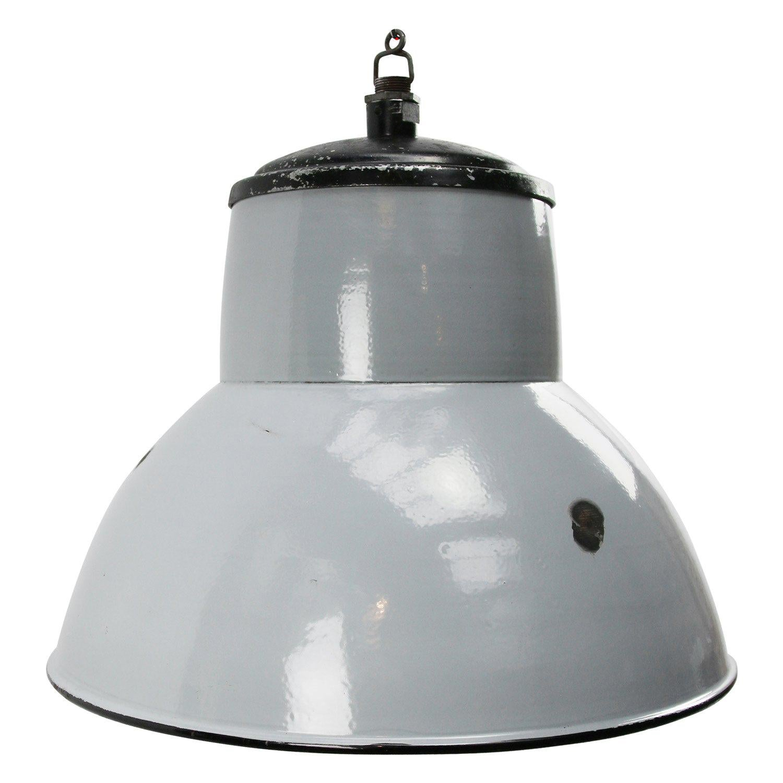 Dutch Gray Enamel Vintage Industrial Pendant Lighs by Philips