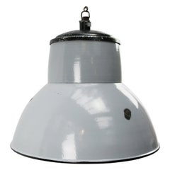 Dutch Gray Enamel Vintage Industrial Pendant Lighs by Philips