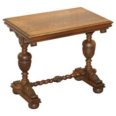 Dutch Hand Carved Solid Oak Side Table to Sit next to a Desk Part of Large Suite