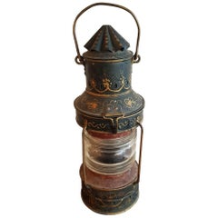 Dutch Hand Painted Metal Anchor Light from circa 1900