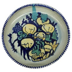 Dutch Hand-Turned and Painted Mushroom Plate from C.J. Lanooy, 1925