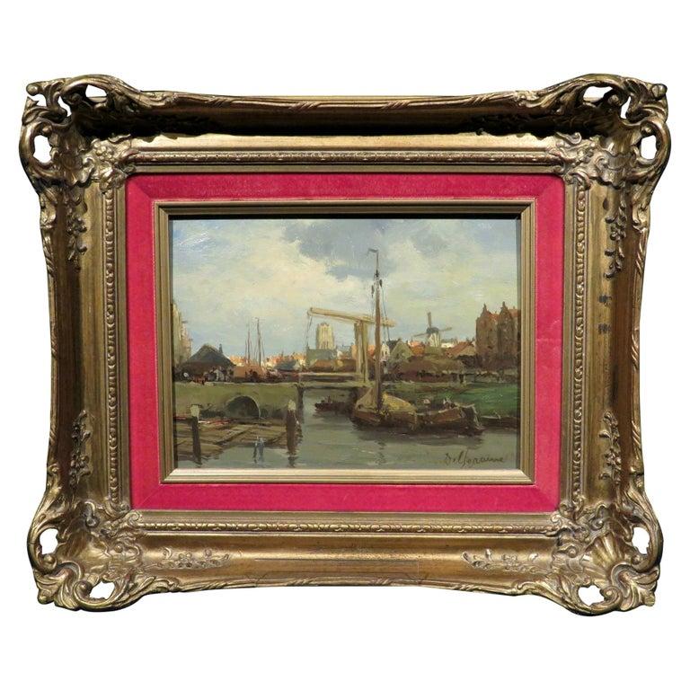 Dutch Harbour View by Gerard Johannes Delfgaauw Dutch For Sale