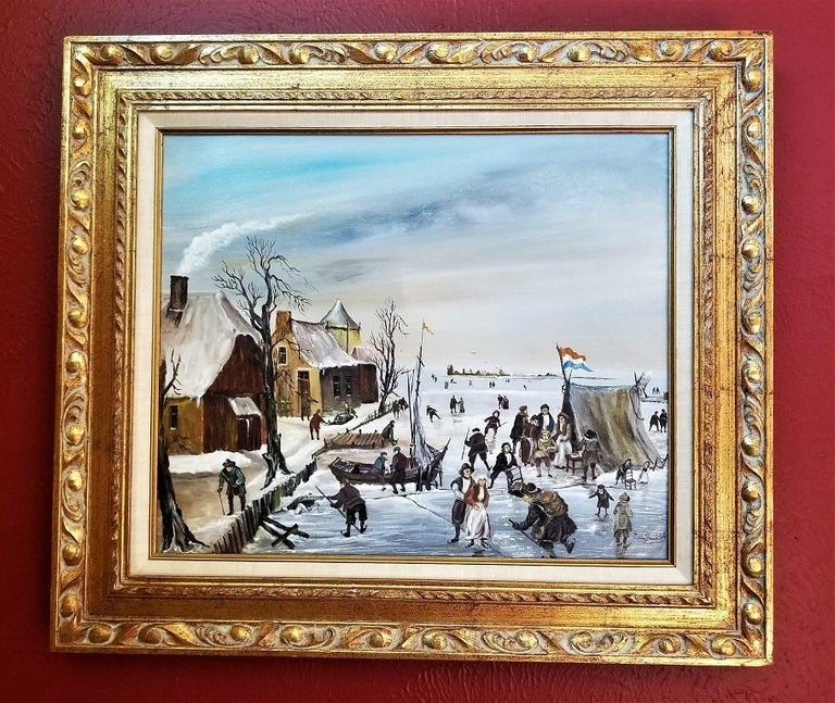 Presenting a glorious piece of original Dutch art, namely, a scene of Dutch ice skating oil on canvas by Van Buiksloot.  J. Van Buiksloot was a Dutch painter in the 1950s. His works are quite rare and have appeared in some majorly prestigious