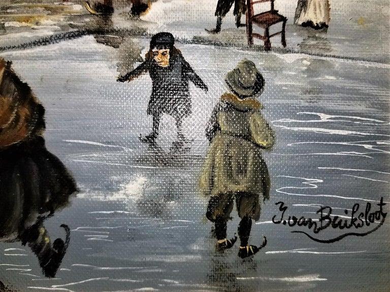 Folk Art Dutch Ice Skating Oil on Canvas by Van Buiksloot For Sale
