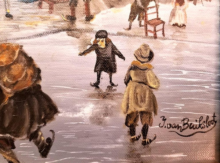 Hand-Crafted Dutch Ice Skating Oil on Canvas by Van Buiksloot For Sale