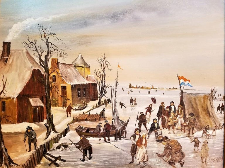 Dutch Ice Skating Oil on Canvas by Van Buiksloot In Good Condition For Sale In Dallas, TX
