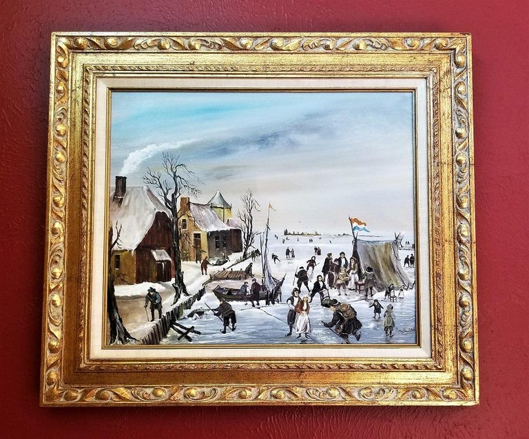 20th Century Dutch Ice Skating Oil on Canvas by Van Buiksloot For Sale
