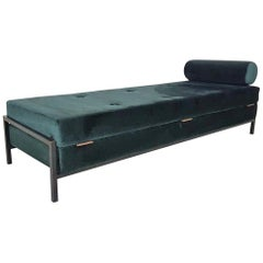 Dutch Industrial Green Velvet Midcentury Convertible Daybed, Sofa or Sleeper