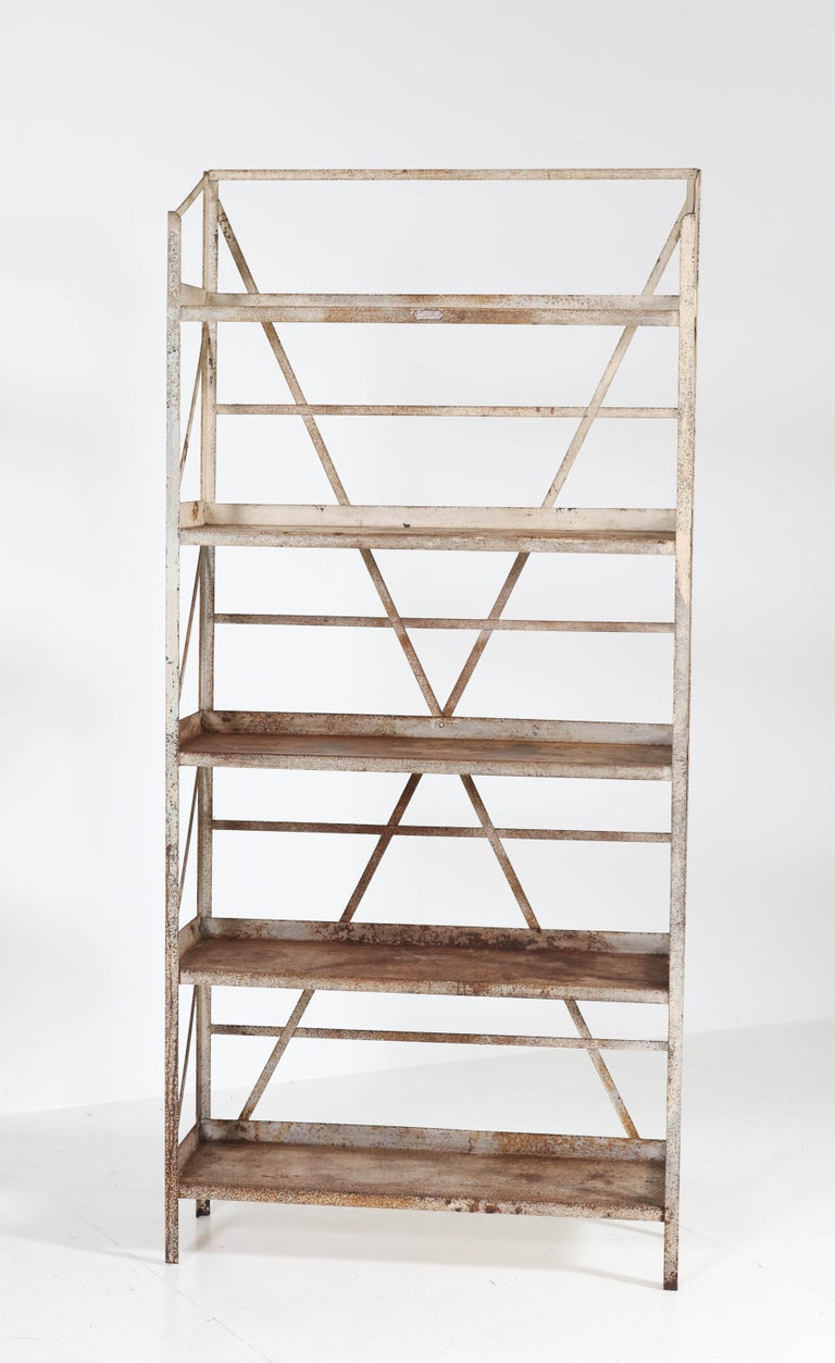 Dutch Industrial Steel Shelving Unit by Fa. Koller & van Os Amsterdam, 1930s In Fair Condition For Sale In Amsterdam, NL
