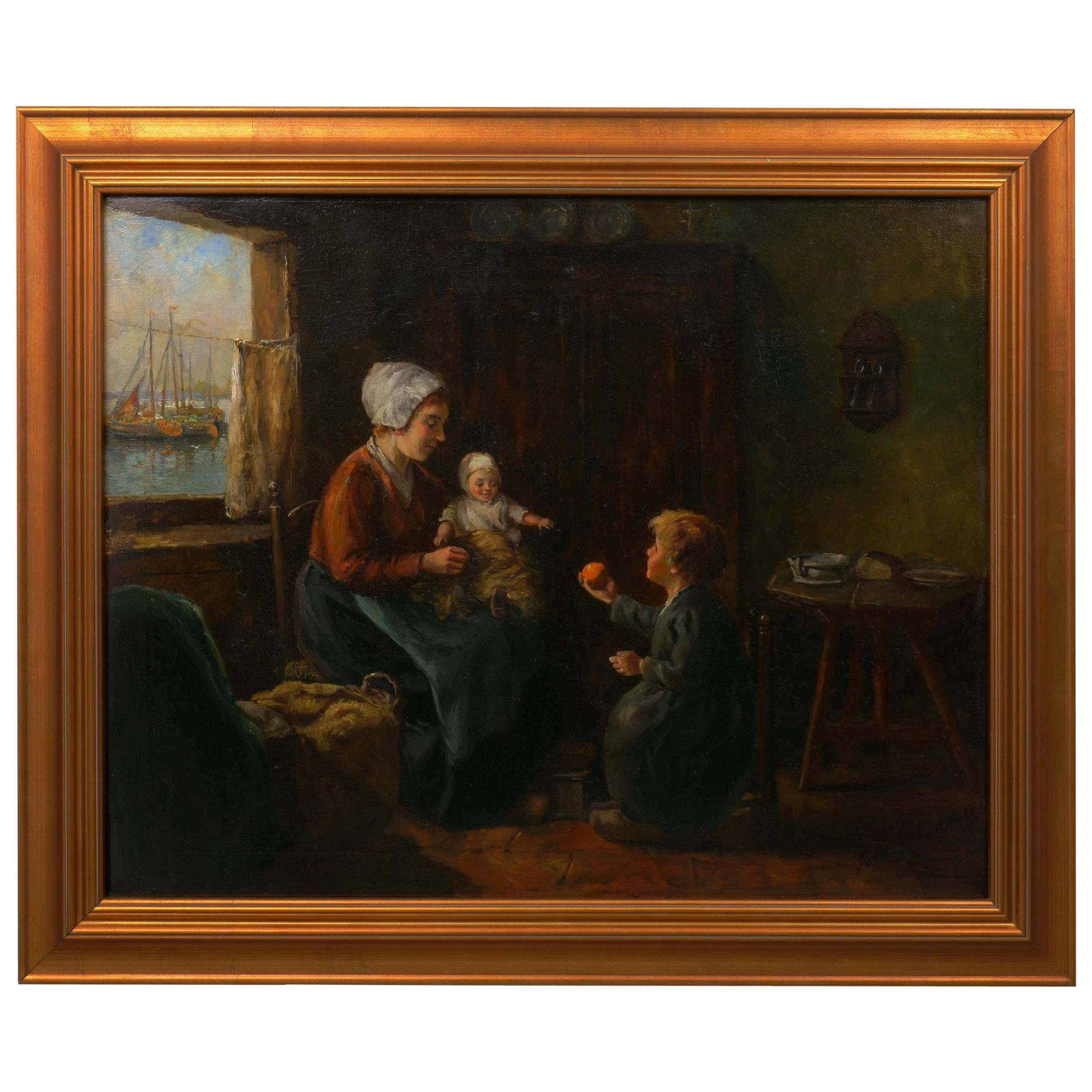 """Dutch Interior"" Genre Scene Painting by John H. Henrici"