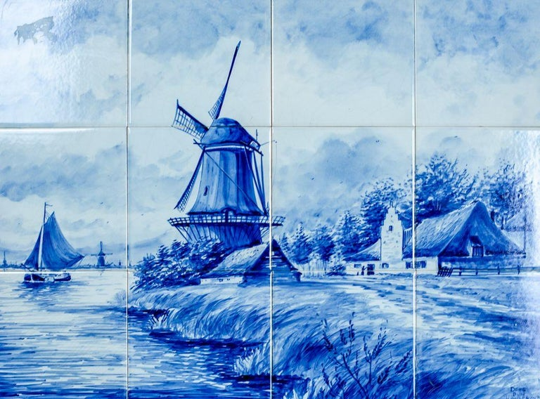Dutch Landscape Made of Ceramic Tiles, Faience from Delft, circa 1960 In Good Condition For Sale In Opole, PL
