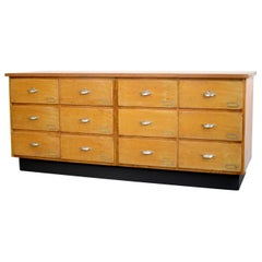 Dutch Light Oak Bank of Drawers, circa 1940s