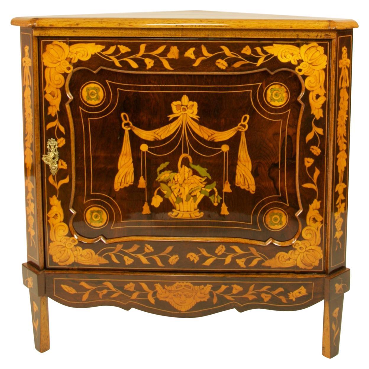 Dutch Louis XVI Marquetry Corner Cabinet or Encoignure