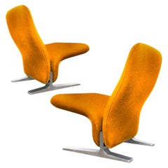 Dutch Lounge Chairs by Pierre Paulin for Artifort, New Kvadrat Upholstery, 1970s