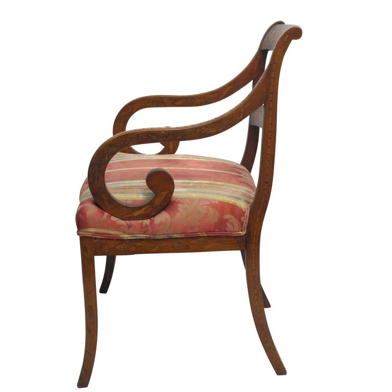 Dutch Mahogany and Satinwood Marquetry Inlay Armchair, circa 1800 In Excellent Condition For Sale In San Francisco, CA
