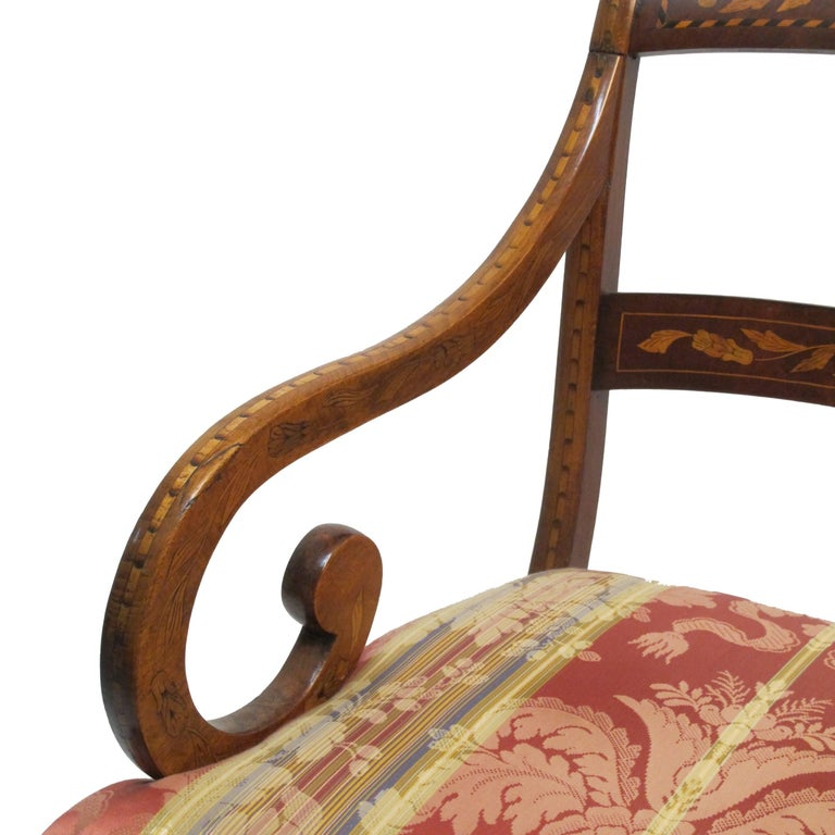 19th Century Dutch Mahogany and Satinwood Marquetry Inlay Armchair, circa 1800 For Sale