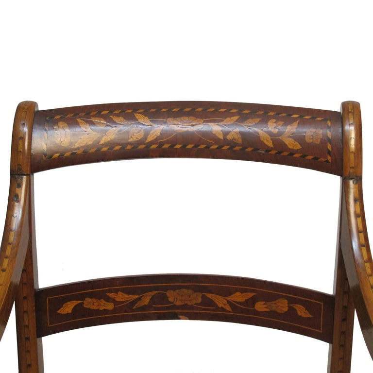 Dutch Mahogany and Satinwood Marquetry Inlay Armchair, circa 1800 For Sale 4