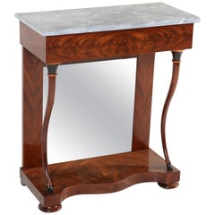 Dutch Mahogany Biedermeier Console Table with Marble Top, 1830s