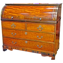 Dutch Mahogany, Rosewood, and Brass Cylinder Bureau